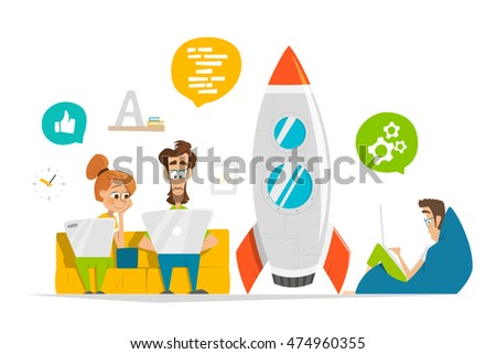 Young team working on new startup in modern office Business entrepreneur characters people illustration