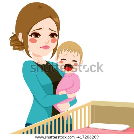 Young tired sleepy mother consoling her little baby crying - stock vector