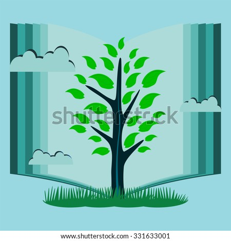 Young tree with green leaves in the background of an open book. The symbol of knowledge, reading, library. - stock vector