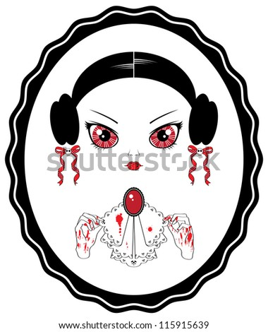 Young vampire woman with bloody hands and vintage jabot looks in the mirror - stock vector