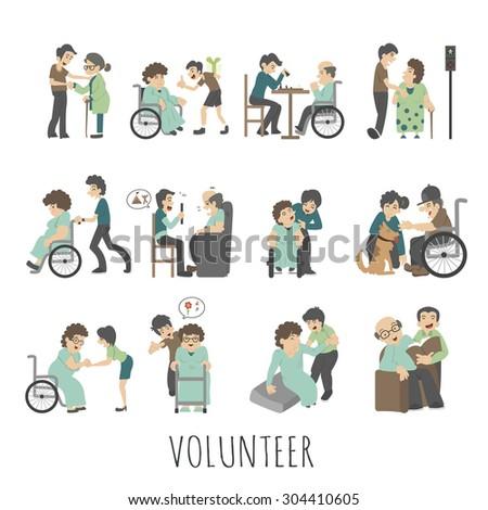 Young volunteer set , eps10 vector format - stock vector