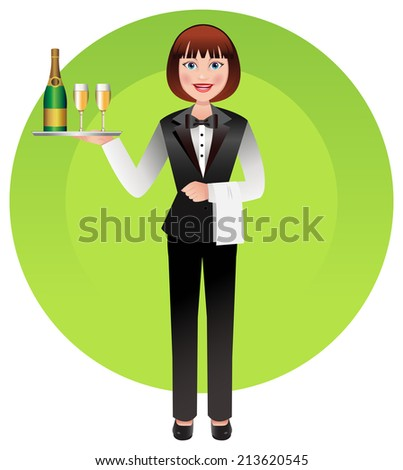 Young waitress in uniform serving champagne - stock vector