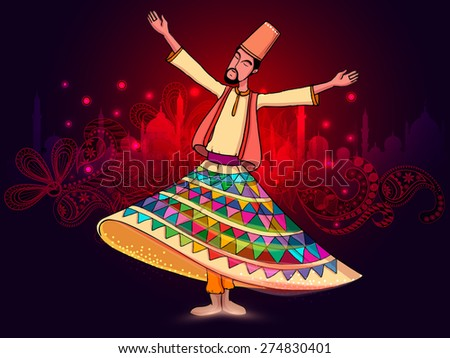 Young whirling dervish in traditional outfits on beautiful red floral design and mosque silhouette background for holy month of Muslim coomunity, Ramadan Kareem celebration.  - stock vector