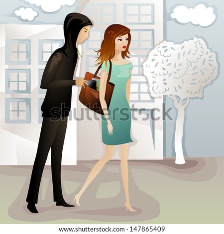 young woman being robbed by a pickpocket on the street - stock vector
