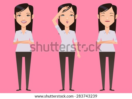 Young woman character business vector - stock vector