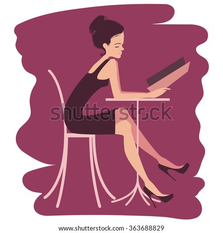 Young Woman Choosing from a Restaurant Menu - Young woman at a restaurant deciding what to order. Vector illustration. - stock vector