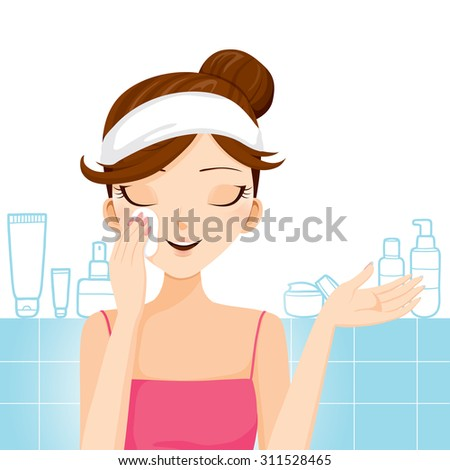 Young woman cleaning makeup on her face, facial, beauty, cosmetic, health, lifestyle - stock vector