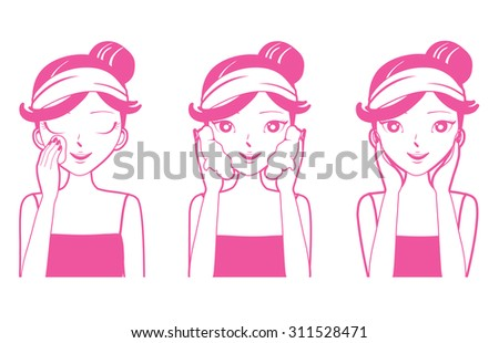Young woman cleaning, washing and cares her face, facial, beauty, cosmetic, makeup, health, lifestyle - stock vector