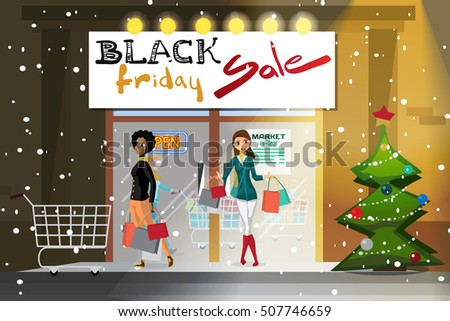 Young woman coming out of the supermarket with shopping on the day of Black Friday sales. Cartoon style vector illustration