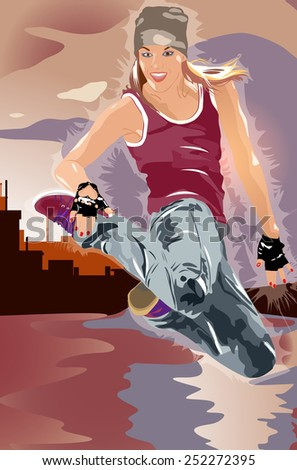 Young woman dancer jumping. EPS 10 format. - stock vector