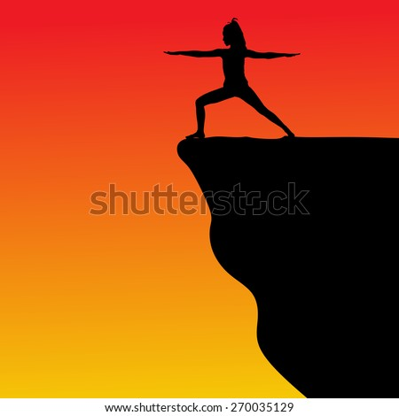 Young woman doing yoga on cliff, vector - stock vector