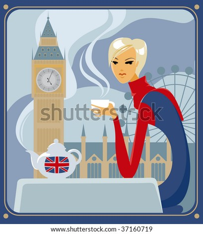 Young woman drinking five-o-clock  tea in a cafe in London - stock vector