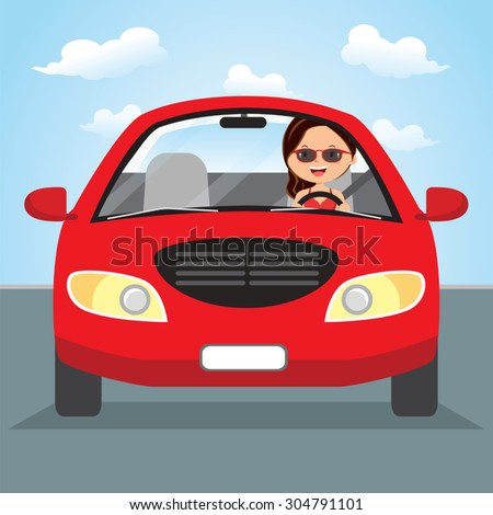 Young woman driving on the road. Vector illustration of a pretty woman driving. - stock vector