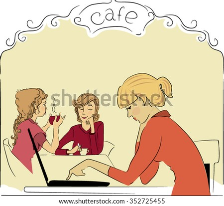 Young woman enjoying coffee in a restaurant. Young woman working on laptop in cafe. Female freelancer. - stock vector