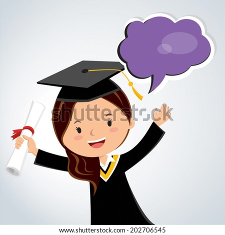 Young woman graduation speech.  A young woman holding her diploma giving her graduation speech. - stock vector