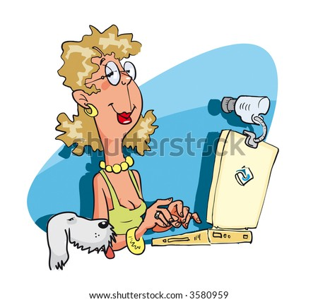 Young woman having a on-line chat via web-cam. Vector Illustration