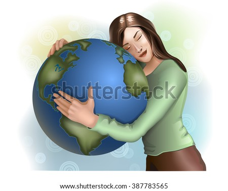 Young woman hugging the Earth. Vector illustration.