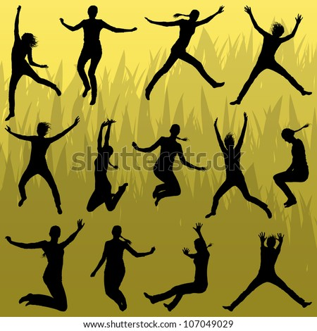 Young woman illustration collection silhouettes jumping in the summer air background vector - stock vector