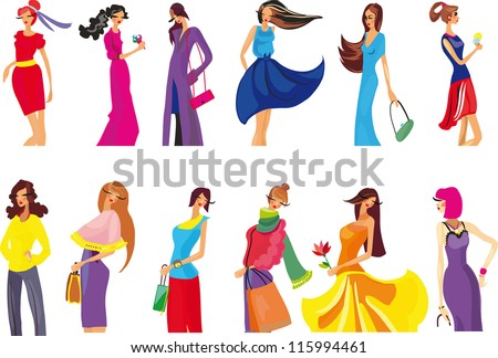young woman in beautiful dress - stock vector