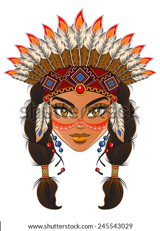 Young woman in costume of American Indian - stock vector