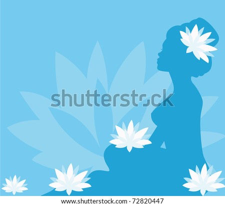 young woman in spa with lotus blooms - stock vector