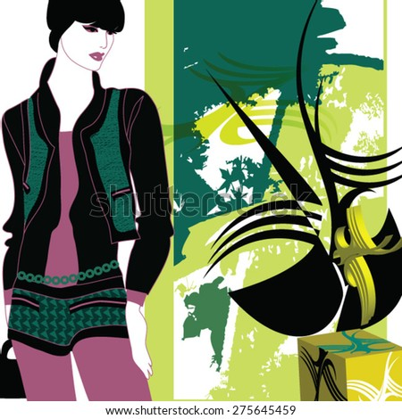 young woman looking at a contemporary sculpture  - stock vector