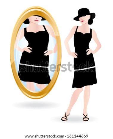 Young woman looking at her in the mirror. Anorexia or bulimia metaphor. Vector illustration. - stock vector