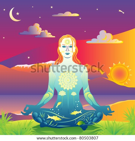 Young woman meditates by the sunset lake and mountains vector illustration - stock vector