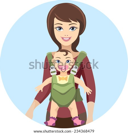 Young woman mother and her baby with care and love. Vector illustration - stock vector
