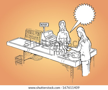 Young woman paying at a supermarket cash desk - vector sketch illustration - stock vector