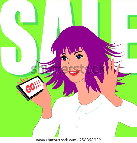 Young woman rejoice by sale. Her eyes sparkle, purple hair fluttering. On a light-green background is written sale. She has phone in hand with slogan Go. - stock vector