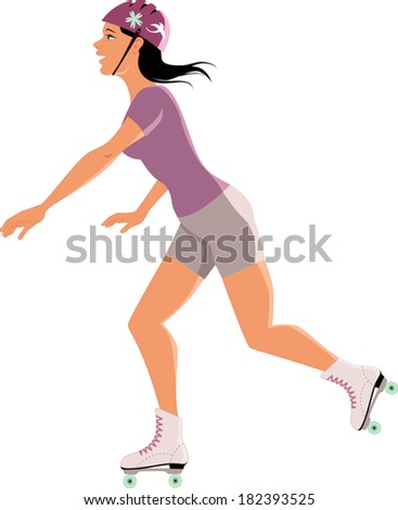 Young woman roller skating, isolated on white, vector cartoon
