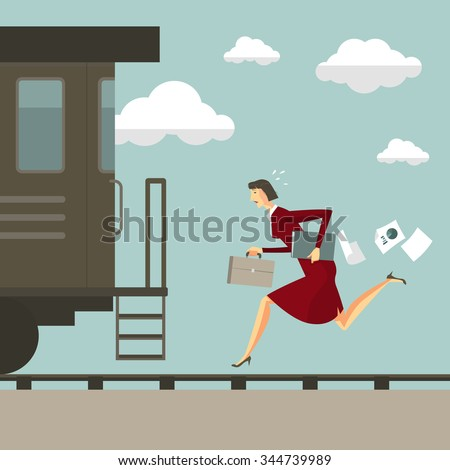 Young woman running after the train. Business success concept conquering adversity overcoming leadership challenge aspiration ambition motivation hurry up, vector illustration modern style. - stock vector