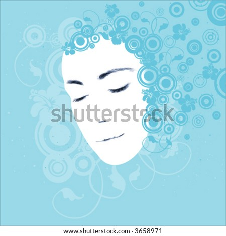 Young woman's face, beauty concept, illustration