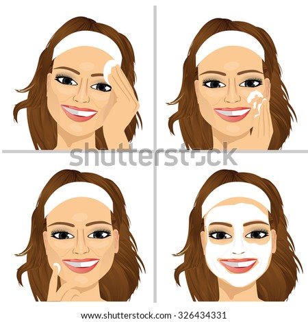 young woman showing four steps for cleaning face applying skin care product - stock vector