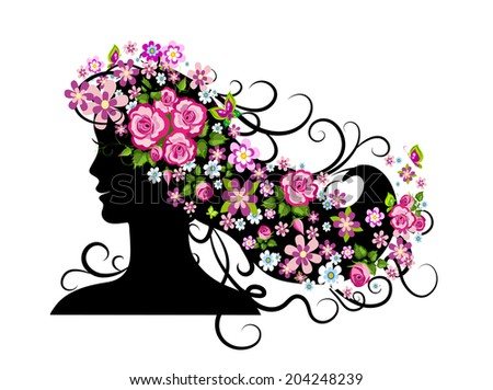 Young woman silhouette and beautiful flowers.