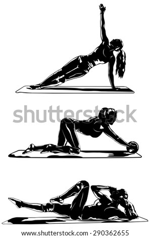 Young woman silhouette three sports poses on white background. - stock vector