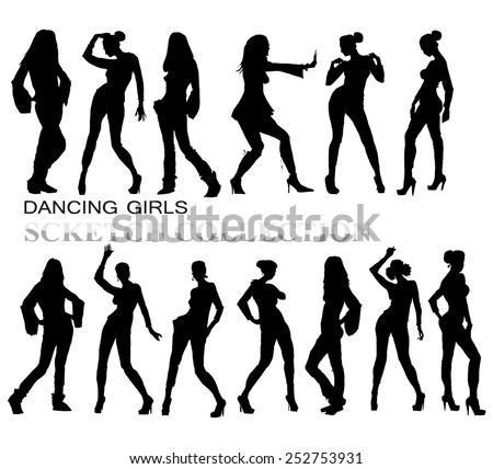 Young woman silhouettes - stock vector