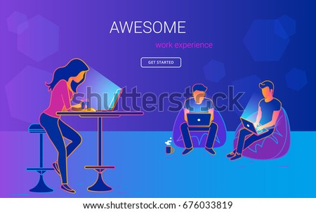 Young woman sitting at the table with laptopn and talking and working with her male friends in the open space office. Gradient line vector illustration of creative people working together