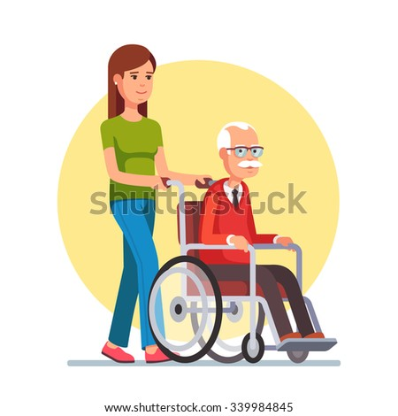 Young woman social worker strolling with elder grey haired man in wheelchair. Flat style vector illustration isolated on white background. - stock vector