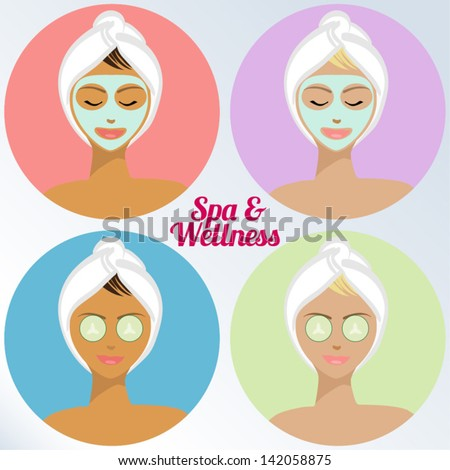 Young Woman Spa Treatmenat - Spa & Wellness Icons - Vector EPS10 - stock vector