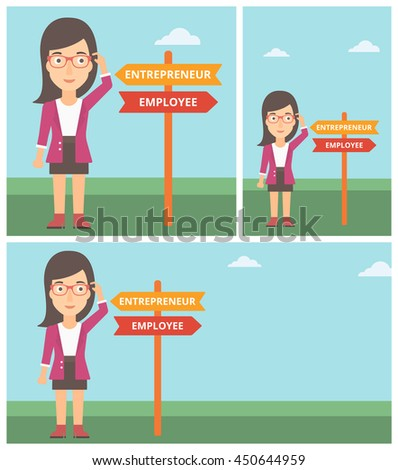 Young woman standing at road sign with two career pathways. Woman making a decision of her career pathway. Vector flat design illustration. Square, horizontal, vertical layouts. - stock vector