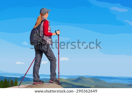 Young woman tourist standing on mountain top and looking aside. - stock vector