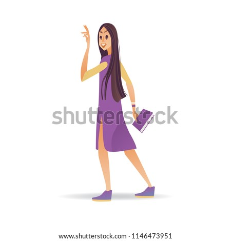 Young woman waving hand while walking stock vector royalty free young woman waving hand while walking cartoon smiling girl with book greeting or saying goodbye m4hsunfo