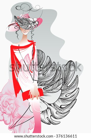 Young Woman with a bouquet and a hat 