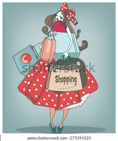 Young woman with a lot of shopping bags. - stock vector