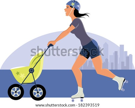 Young woman with a stroller roller skating, city skyline on the background
