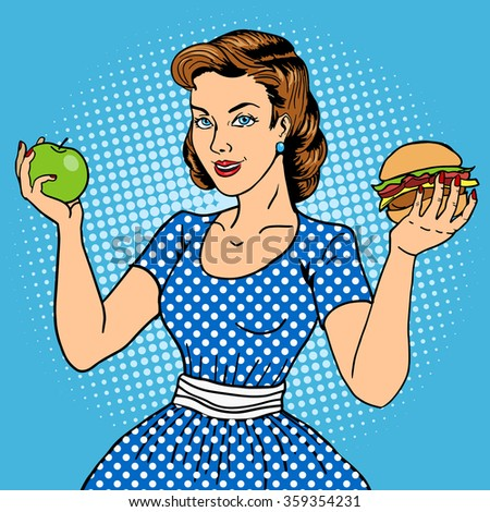 Young woman with apple and burger pop art style vector illustration. Comic book style imitation. Vintage fashion - stock vector