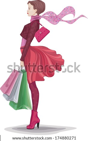 Young woman with bunch of shopping bags isolated on white - stock vector