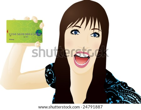 Young woman with credit card - stock vector